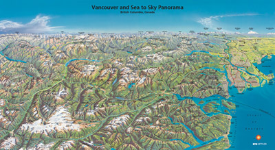 Vancouver & Sea to Sky Panorama Poster Map