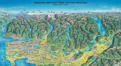 Vancouver with Fraser Valley and Coast Mountains Poster Map