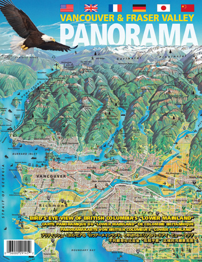 "Vancouver & Fraser Valley Panoramic Tourist Map - 31x20 ¾ "" (79x52 ½ cm), folded  10 3/8""x8)"